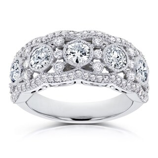 Annello by Kobelli 10k White Gold Moissanite (HI) and 1/2ct TDW Diamond Anniversary Ring