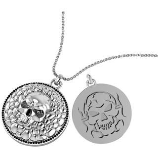 Sterling Silver Graveyard Skull Necklace