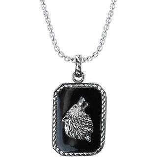 Sterling Silver Howling Wolf Necklace|https://ak1.ostkcdn.com/images/products/16931499/P23221463.jpg?impolicy=medium