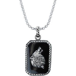 Sterling Silver Howling Wolf Necklace - Black