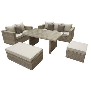 Pangeo Home Oasis Rattan 5-piece Sofa Dining Set with Fabric Cushions