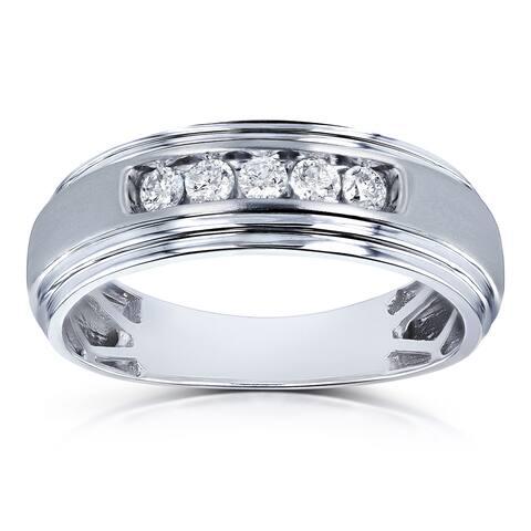 Annello by Kobelli 10k White Gold 1/4ct TDW Channel Diamond Men's Ring (H-I, I2)