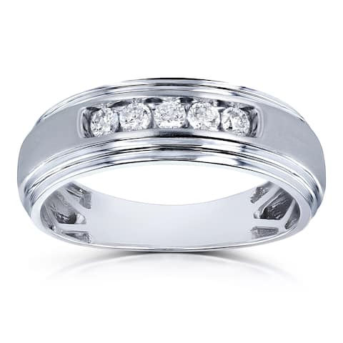 Annello by Kobelli 10k White Gold 1/4ct TDW Channel Diamond Men's Ring (H-I, I2)