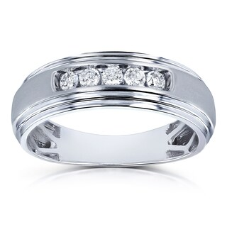 Annello by Kobelli 10k White Gold 1/4ct TDW Channel Diamond Men's Ring (H-I, I2) (More options available)