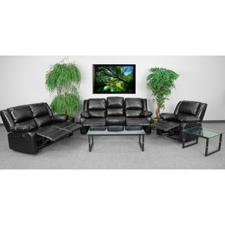 Serenity Classic Black Leather Reclining 3-piece Living Room Set