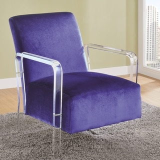 Modern Design Blue Velvet Living Room Accent Chair with Acrylic Arms