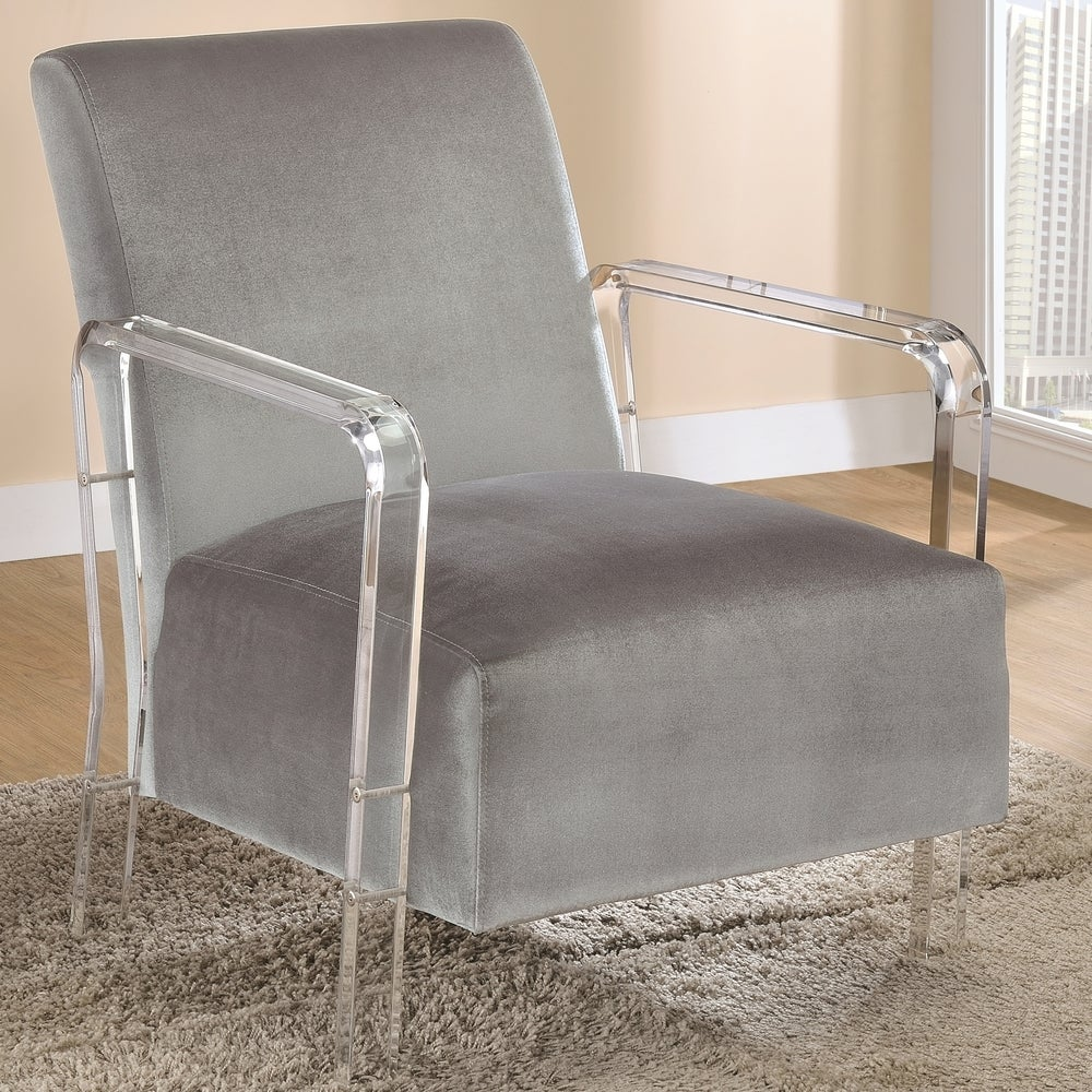 A Line Furniture Modern Design Grey Velvet Living Room Accent Chair with Acrylic Arms (Grey)