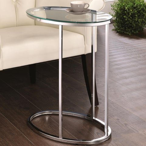 Modern Design Living Room Oval Shaped Chrome Accent Snack Table with Tempered Glass Top