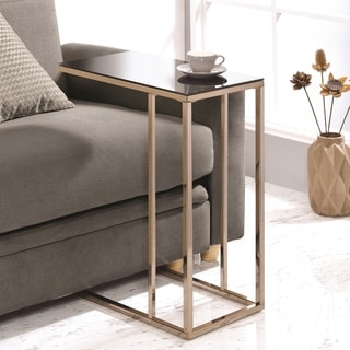 Modern Design Chocolate Chrome Living Room Accent Table with Black Tempered Glass Top