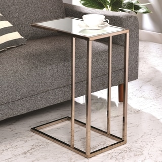 Modern Design Chocolate Chrome Living Room Accent Table with Tempered Mirrored Glass Top