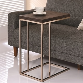 Modern Design Expendable Swivel Flip Top Accent Table with Chocolate Chrome Base