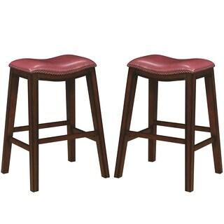 Saddle Design Crimson Red Seat Barstools with Nailhead Trim (Set of 2)