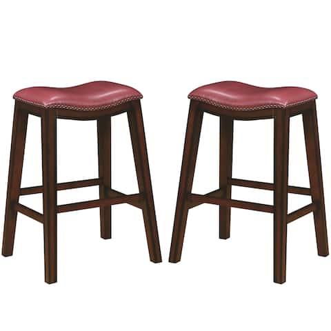 Saddle Design Crimson Red Seat Dining Stools with Nailhead Trim (Set of 2)