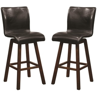 Montgomery Sleek Sculpted Black Upholstered Counter Height Swivel Dining Stools (Set of 2)