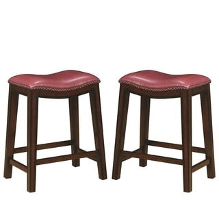 Saddle Design Crimson Red Seat Counter Height Dining Stools with Nailhead Trim (Set of 2)