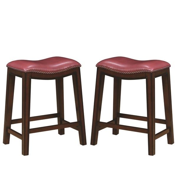 Saddle Design Crimson Red Seat Counter Height Dining