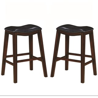 Saddle Design Black Seat Barstools with Nailhead Trim (Set of 2)