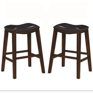 Saddle Design Black Seat Barstools with Nailhead Trim (Set of 2)