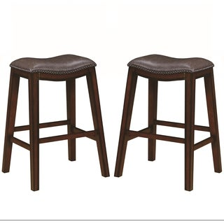 Saddle Design Brown Seat Barstools with Nailhead Trim (Set of 2)