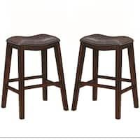 Saddle Design Brown Seat Barstools with Nailhead Trim (Set of 2)