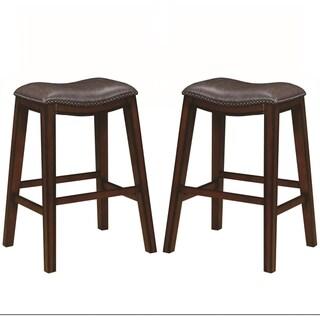 Saddle Design Brown Seat Stools with Nailhead Trim (Set of 2)