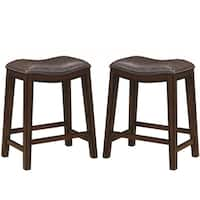 Saddle Design Brown Seat Counter Height Dining Stools with Nailhead Trim (Set of 2)