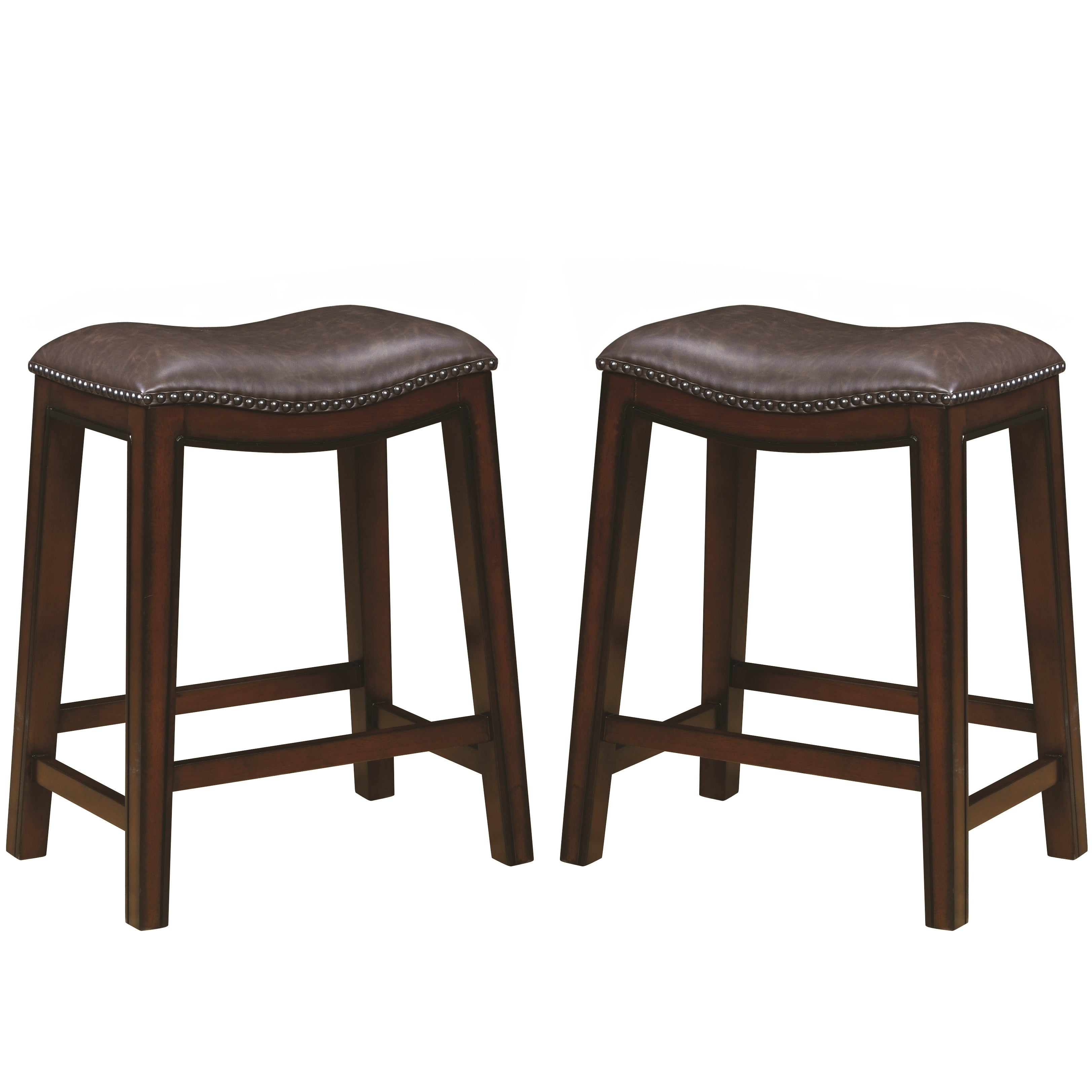 Admirable Saddle Design Brown Seat Counter Height Dining Stools With Nailhead Trim Set Of 2 Uwap Interior Chair Design Uwaporg