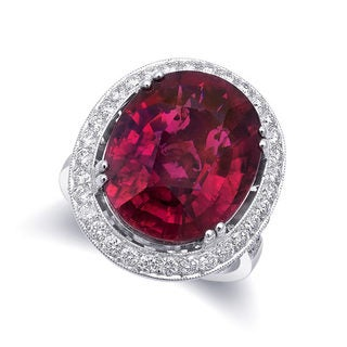 18k White Gold 5.04ct TGW Oval-cut Red Rubellite Tourmaline White Diamond Halo Engagement Ring (G-H, VS2-SI1)