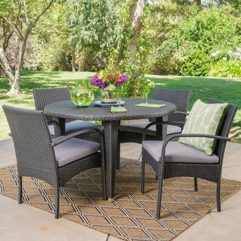 Marin Outdoor 5-piece Round Dining Set with Cushions by Christopher Knight Home