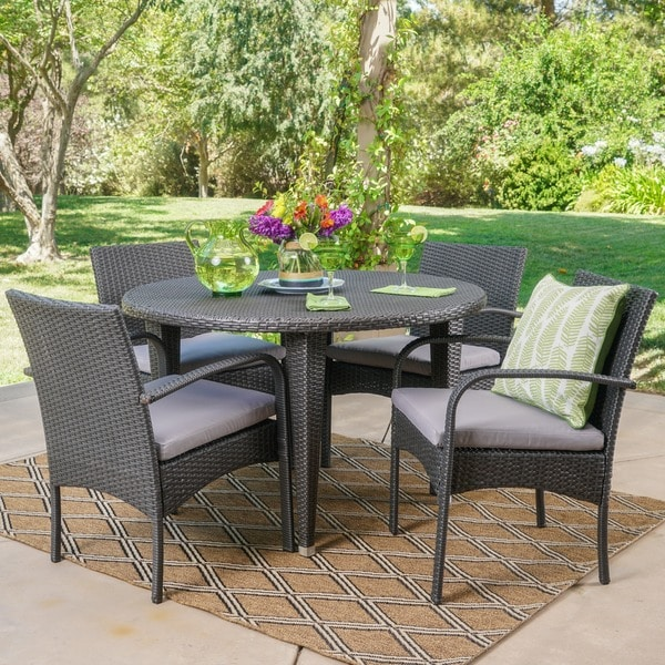 Marin Outdoor 5 Piece Round Dining Set With Cushions By