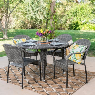 Belvedere Outdoor 5-piece Round Dining Set by Christopher Knight Home