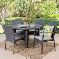 Mussel Rock Outdoor 5-piece Round Dining Set with Cushions by Christopher Knight Home