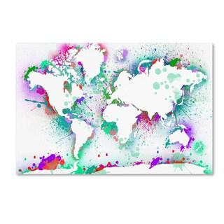 ALI Chris 'World Mape 10' Canvas Art