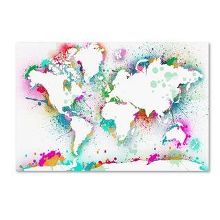 ALI Chris 'World Mape 9' Canvas Art