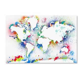 ALI Chris 'World Mape 8' Canvas Art