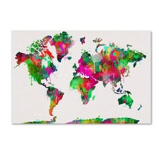 ALI Chris 'World Mape 5' Canvas Art