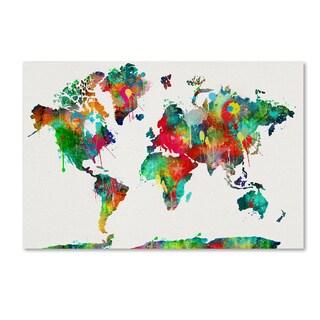 ALI Chris 'World Mape 4' Canvas Art
