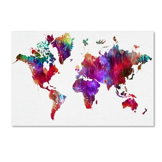 ALI Chris 'World Mape 3' Canvas Art