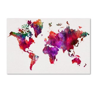 ALI Chris 'World Mape 2' Canvas Art
