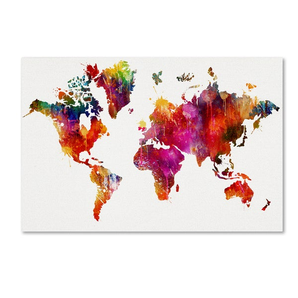 ALI Chris 'World Mape 1' Canvas Art