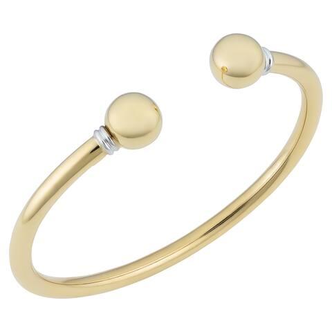Fremada Italian 18k Two-tone Gold Cuff Bangle Bracelet (7.5 inches)