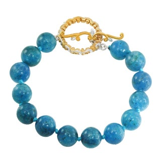 Michael Valitutti Palladium Silver Apatite Bead Knotted Toggle Bracelet