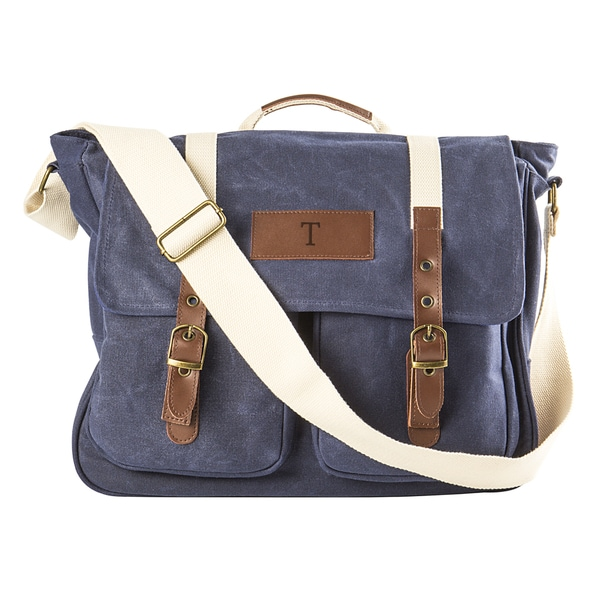 Personalized Navy Waxed Canvas and Leather Messenger Bag