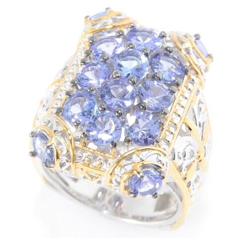Michael Valitutti Palladium Silver Tanzanite Scrollwork Rectangle Ring
