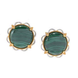 Michael Valitutti Palladium Silver Round Malachite Button Earrings