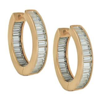 Michael Valitutti Sterling Silver Baguette Cubic Zirconia Hoop Earrings|https://ak1.ostkcdn.com/images/products/16934858/P23224335.jpg?impolicy=medium