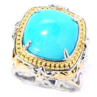Michael Valitutti Palladium Silver Sleeping Beauty Turquoise Flower Detailed High-Set Ring