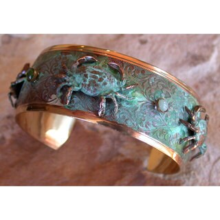 Handmade Patina Sculptural Crabs Cuff - Amazonite, Jade (USA)