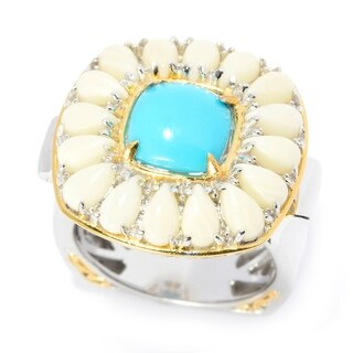 Michael Valitutti Palladium Silver Sleeping Beauty Turquoise & White Bamboo Coral Halo Ring (3 options available)