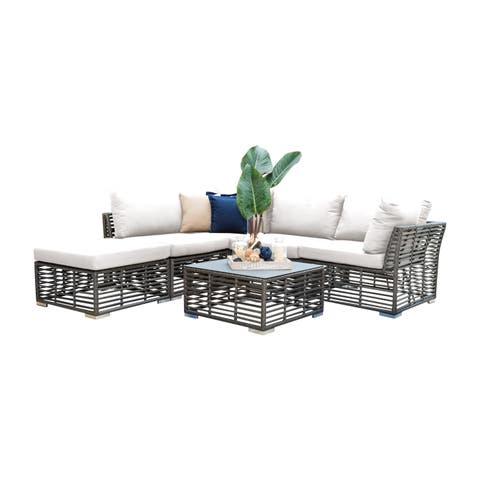 Panama Jack Graphite Aluminum 6-piece Sectional Set